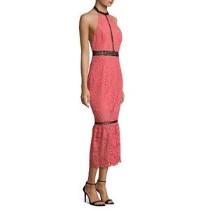 ABS CORAL LACE HALTER MIDI COCKTAIL DRESS